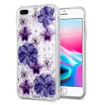 (1H) IPHONE 8 PLUS / 7 PLUS CREATIVE PRINTING DESIGN GLITTER HYBRID - PURPLE FLOWERS (RETAIL PACKED)