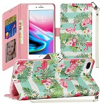 (1H) IPHONE 8 PLUS / 7 PLUS FASHION WRISTLET WALLET WITH STRAP - FLAMINGO (RETAIL PACKED)