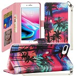 (1H) IPHONE 8 PLUS / 7 PLUS FASHION WRISTLET WALLET WITH STRAP - BEAUTIFUL ISLAND (RETAIL PACKED)
