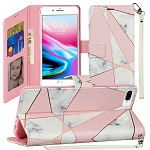 (1H) IPHONE 8 PLUS / 7 PLUS FASHION WRISTLET WALLET WITH STRAP - MARBLE (RETAIL PACKED)