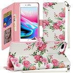 (1H) IPHONE 8 PLUS / 7 PLUS FASHION WRISTLET WALLET WITH STRAP - ROSES BOUQUET (RETAIL PACKED)