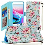 (1H) IPHONE 8 PLUS / 7 PLUS FASHION WRISTLET WALLET WITH STRAP - VINTAGE ROSES (RETAIL PACKED)