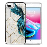 (1H) IPHONE 8 PLUS / 7 PLUS LUXURY GLITTER DESIGN ON SHOCKPROOF ARMOR HYBRID - BLUE SWIRL (RETAIL PACKED)