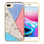 (1H) IPHONE 8 PLUS / 7 PLUS LUXURY GLITTER DESIGN ON SHOCKPROOF ARMOR HYBRID - COLORFUL MARBLE (RETAIL PACKED)