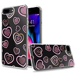 (1H) IPHONE 8 PLUS / 7 PLUS TRENDY ELECTROPLATED DESIGN ON ULTRA THICK HYBRID - HEARTS (RETAIL PACKED)