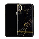 (1-CO) IPHONE X/XS CHROME MARBLE CASE - BLACK + GOLD (RETAIL PACKED)