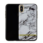 (1-WH) IPHONE X/XS CHROME MARBLE CASE - WHITE + BLACK (RETAIL PACKED)