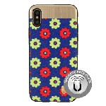 (1-CO) IPHONE X/XS NORAH FLOWER CASE WITH METAL BACK FOR MAGNETIC HOLDER - BLUE (RETAIL PACKED)