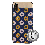 (1-CO) IPHONE X/XS NORAH FLOWER CASE WITH METAL BACK FOR MAGNETIC HOLDER - NAVY (RETAIL PACKED)