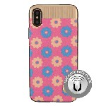 (1-WH) IPHONE X/XS NORAH FLOWER CASE WITH METAL BACK FOR MAGNETIC HOLDER - PINK (RETAIL PACKED)
