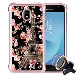 (P01) SAMSUNG GALAXY J7 (2018) NEO SKETCH - EIFFEL ROSES / BLACK (RETAIL PACKED)
