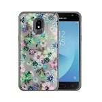 (P01) SAMSUNG GALAXY j7 (2018) TOUGH ART CASE - FLOWER PASTEL / GRAY BUMPER (RETAIL PACKED)