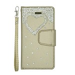 (P01) LG STYLO 4 / 4 PLUS TREASURE WALLET HEART - GOLD (RETAIL PACKED)