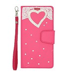 (P01) LG STYLO 4 / 4 PLUS TREASURE WALLET HEART - HOT PINK (RETAIL PACKED)
