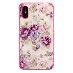 (1-CO) IPHONE X/XS TOUGH ART CASE - FLOWER PURPLE / PINK BUMPER (RETAIL PACKED)