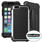 (1-BA) IPHONE 6/6S BALLISTIC TOUGH JACKET MAXX WITH HOLSTER - BLACK/WHITE (RETAIL PACKED)