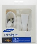 (P01) SAMSUNG FAST ADAPTIVE CAR CHARGER w/ MICRO USB DATA CABLE - WHITE