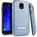 (E01) SAMSUNG GALAXY J7 (2018) BRUSHED METAL STAND - BLUE