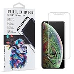 (D01) IPHONE XS MAX FULL COVER SOFT PET FLEXIBLE SCREEN PROTECTOR WITH SILK PRINT CURVED EDGE - WHITE
