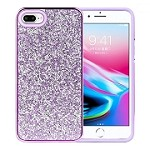 (1H) IPHONE 7 PLUS / 8 PLUS DELUXE GLITTER DIAMOND ELECTROPLATED PC TPU HYBRID - PURPLE