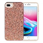 (1H) IPHONE 7 PLUS / 8 PLUS DELUXE GLITTER DIAMOND ELECTROPLATED PC TPU HYBRID - ROSE GOLD