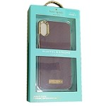 (1-WH) IPHONE X/XS KATE SPADE WRAP CASE - SAFFIANO MAHOGANY / GOLD LOGO PLATE (RETAIL PACKED)