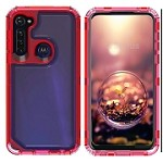 (01-NEW) SAMSUNG A11 3-IN-1 HEAVY DUTY TRANSPARENT CASE - RED