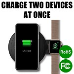 (D01) UNIVERSAL 2 IN 1 FAST CHARGE WIRELESS CHARGING PAD WITH EXTENDED IWATCH CHARGING STATION (ALSO CAN CHARGE AIRPODS 2)- BLACK