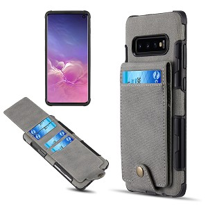 (D01) SAMSUNG GALAXY S10E (5.8 INCH) CANVAS WALLET CASE - GREY