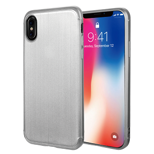 (D01) IPHONE X/XS SOFT TPU CASE WITH SATIN FINISH SURFACE - SILVER