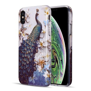 (D01) IPHONE X/XS THE ARTISTRY COLLECTION FULL COVERAGE IMD MARBLE TPU CASE WITH GLITTER - PEACOCK DIVINE