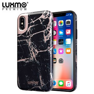 (D01) IPHONE XS MAX LUXMO PREMIUM MARBLICIOUS COLLECTION MARBLE SHINE DESIGN UV COATED TPU CASE - BLACK ROSE MARBLE