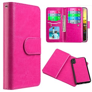 (D01) IPHONE X/XS TIMBERLAND DOUBLE FLOP LEATHER WALLET WITH MAGNETIC PHONE HOLDER - HOT PINK