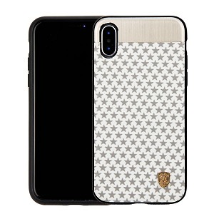 (1-CO) IPHONE X/XS NORAH STAR CASE WITH METAL BACK FOR MAGNETIC HOLDER - WHITE + GRAY (RETAIL PACKED)