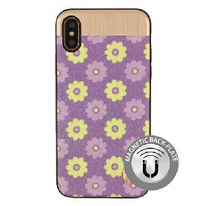 (1-CO) IPHONE X/XS NORAH FLOWER CASE WITH METAL BACK FOR MAGNETIC HOLDER - PURPLE (RETAIL PACKED)