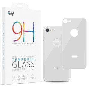 (D01) IPHONE 8 / 7 BACK COVER TEMPERED GLASS RARE PLATE PROTECTOR - WHITE