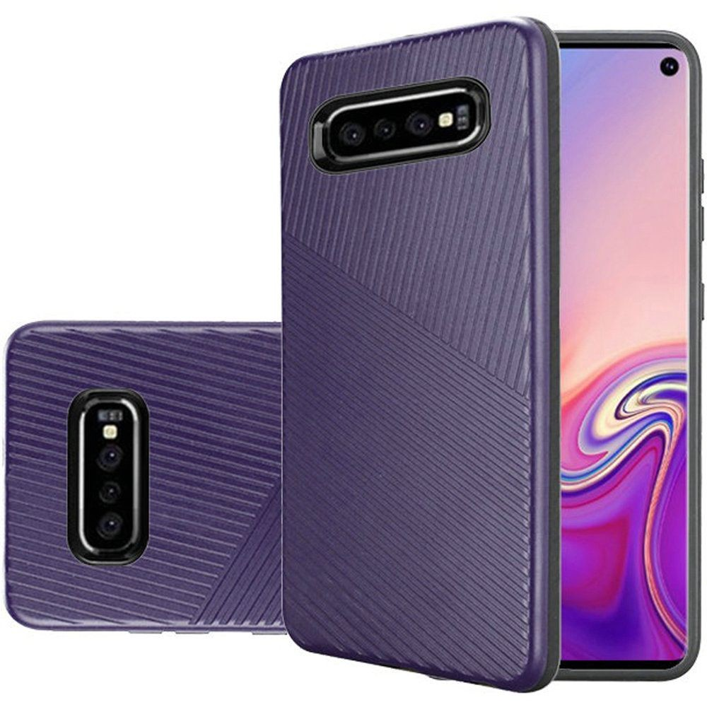 "(1H) SAMSUNG S10 (6.1"") TEXTURED EMBOSSED LINES HARD PLASTIC PC TPU HYBRID - DARK PURPLE"