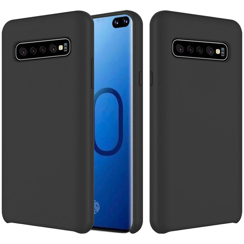 "(1H) SAMSUNG S10 PLUS (6.4"") PREMIUM SERIES SOFT SILICONE PROTECTIVE COVER CASE - BLACK (RETAIL PACKED)"