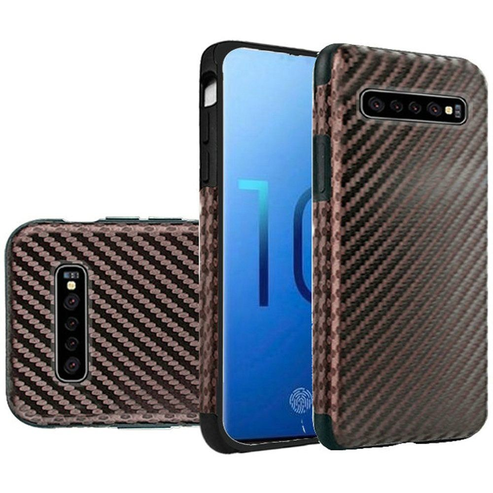 "(1H) SAMSUNG S10 PLUS (6.4"") PREMIUM SERIES LIGHT THIN NON-SLIP TPU CASE - CARBON FIBER BROWN (RETAIL PACKED)"