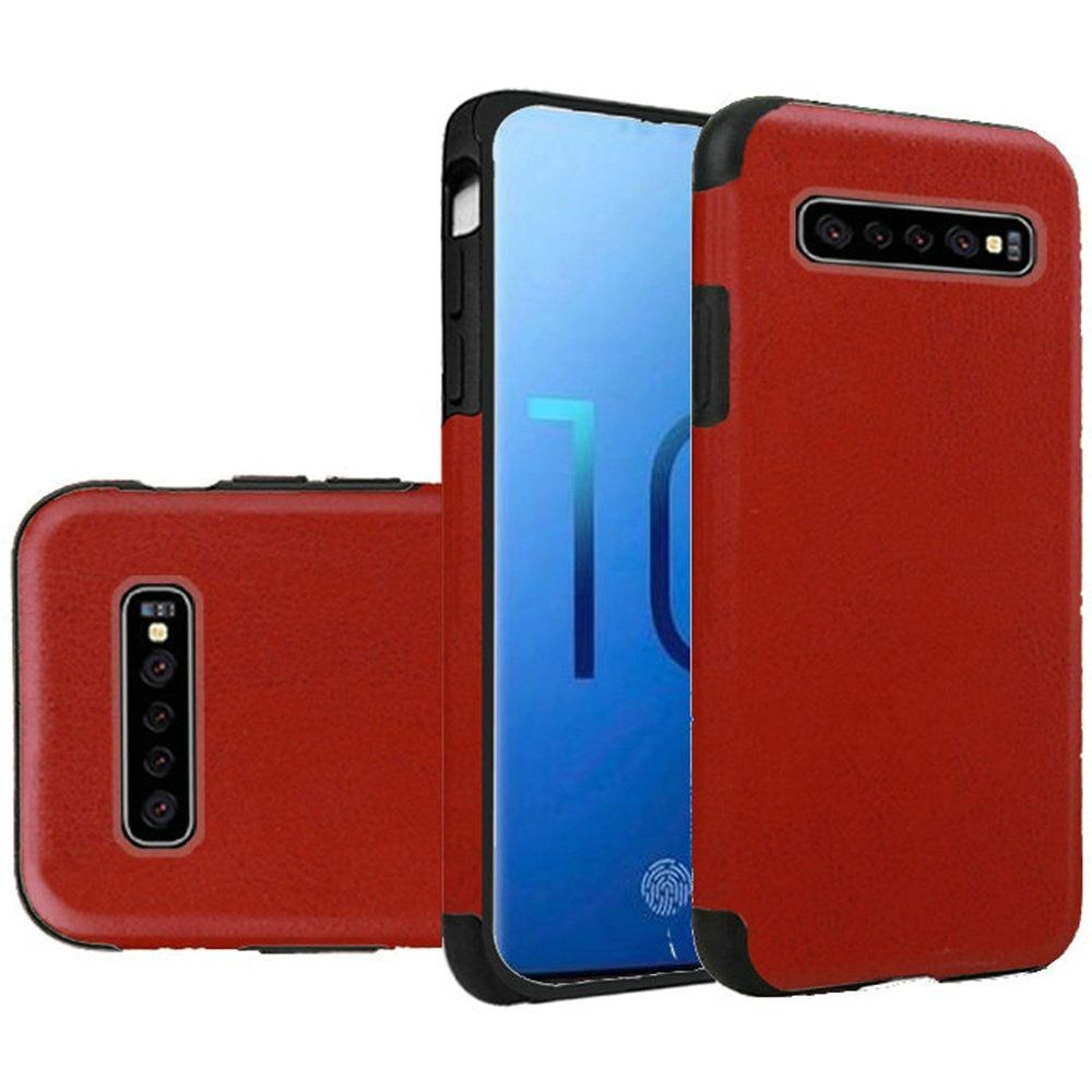 "(1H) SAMSUNG S10 PLUS (6.4"") PREMIUM SERIES LIGHT THIN NON-SLIP TPU CASE - PU LEATHER DESIGN RED (RETAIL PACKED)"