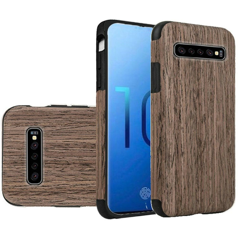 "(1H) SAMSUNG S10 PLUS (6.4"") PREMIUM SERIES LIGHT THIN NON-SLIP TPU CASE - WOOD GRAIN WALNUT (RETAIL PACKED)"