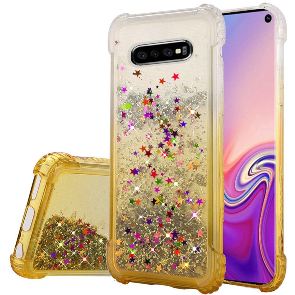 "(1H) SAMSUNG S10E (5.8"") LIQUID QUICKSAND WITH GLITTER TWO TONE COLOR DESIGN TPU - GOLD (RETAIL PACKED)"