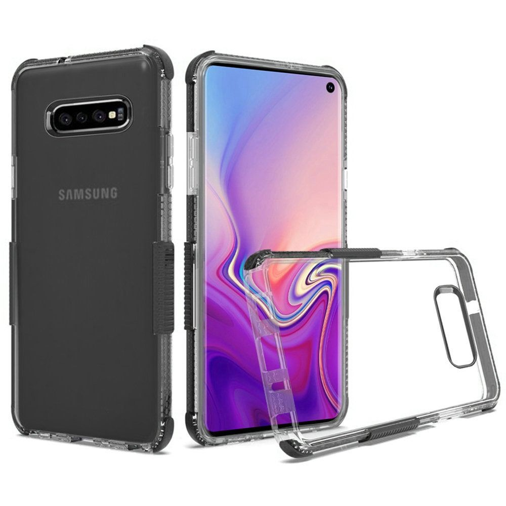 (1H) SAMSUNG S10 (6.1 inch) PREMIUM ULTRA EDGE STURDY SHOCKPROOF BUMPER TRANSPARENT PC TPU - CLEAR/BLACK (RETAIL PACKED)