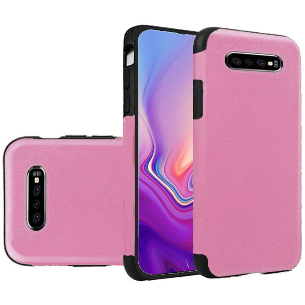"(1H) SAMSUNG S10 (6.1"") PREMIUM SERIES LIGHT THIN NON-SLIP TPU CASE - PU LEATHER DESIGN LIGHT PINK"
